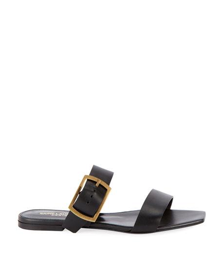 b57aa723b Saint Laurent Jodie Flat Leather Slide Sandals In Black Leather ...