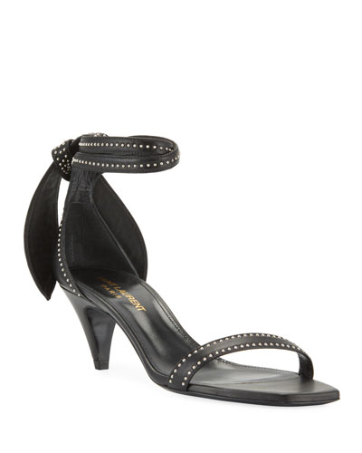 3a2b17e418f0 Charlotte Studded Leather Ankle-Tie Sandals Quick Look. Saint Laurent