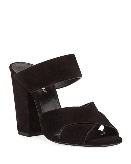 9f3c12c0f Saint Laurent Jodie Suede Block-Heel Sandals