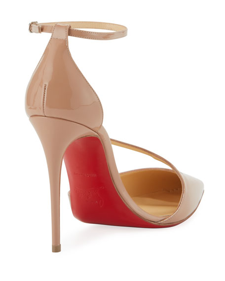reputable site 63dbf 546c5 Fliketta Patent 100mm Red Sole Ankle-Wrap Pump