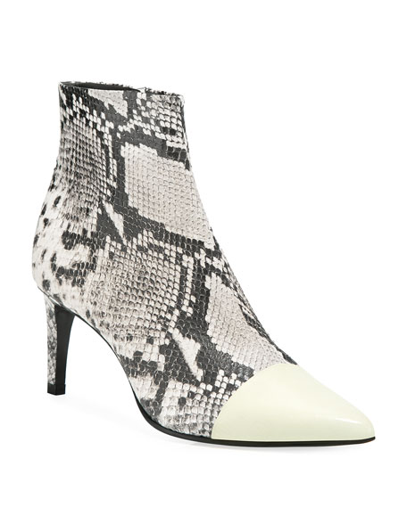 25373c28f4a Beha Snake-Print Leather Cap-Toe Booties