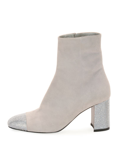Suede Booties with Strass Trim