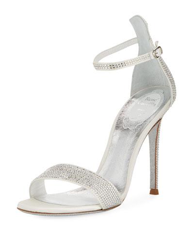 105mm Moonlight Crystal-Studded Satin Platform Sandals