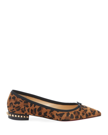 Hall Spike Leopard Red Sole Flats