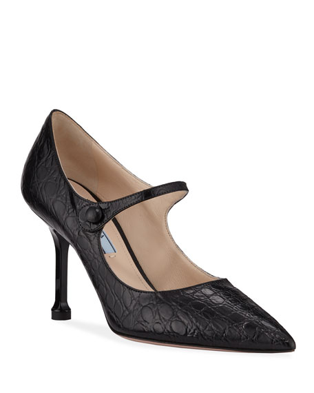 Prada Croc-Embossed Mary Jane Pumps, Black