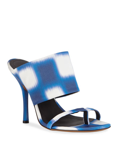 Checked Fabric Sandals