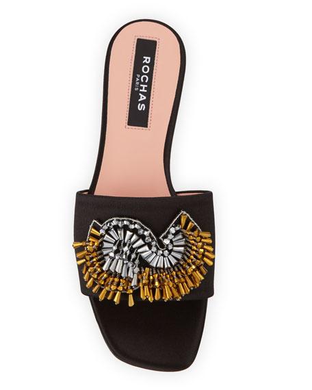 Broach Beaded Satin Slide Sandals