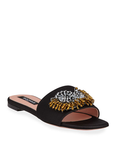 Broach Beaded Satin Slide Sandals