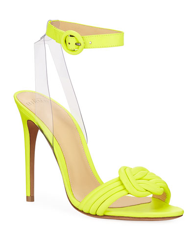 Vicky Fluorescent Leather Anklet Sandals