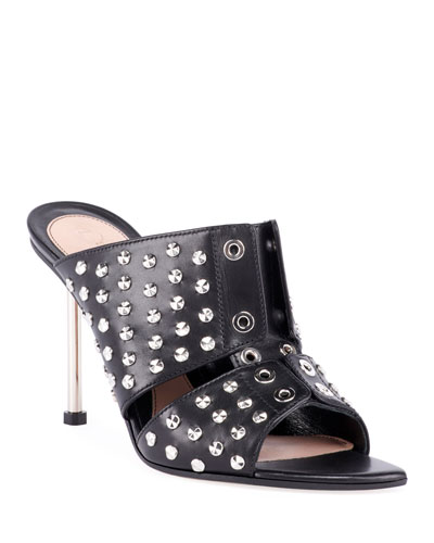Studded Leather Slide Sandals