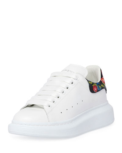 Platform Leather Sneakers with Flower Back
