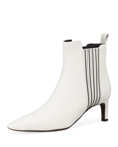 Monili Beaded Calf Leather Booties