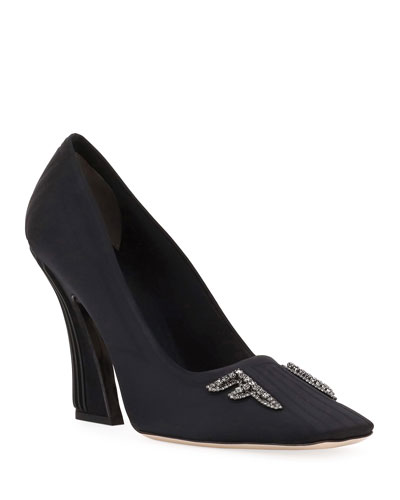 Freedom Embellished Satin Logo Pumps  Black