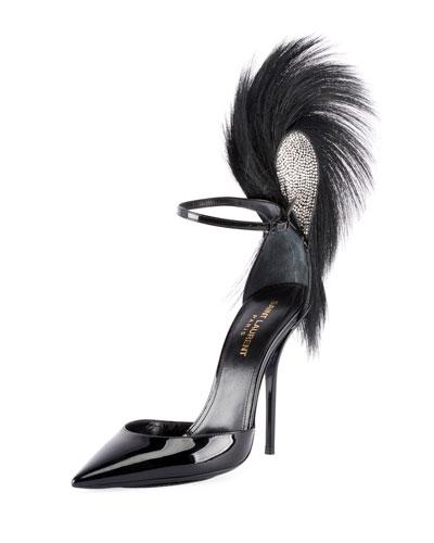 Jamie Patent Fur-Trimmed Ankle Pumps