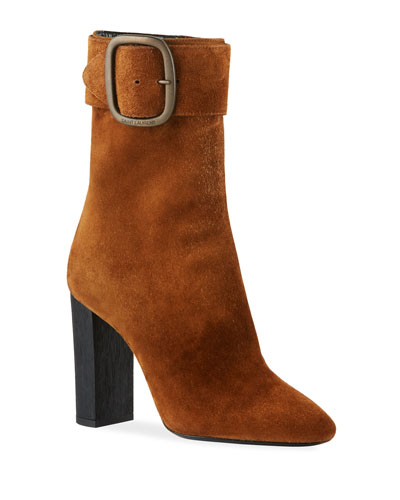 Suede Booties with Large Buckle