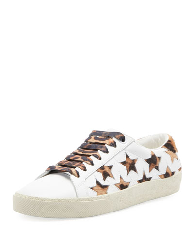 Star Leopard-Print Leather Sneakers