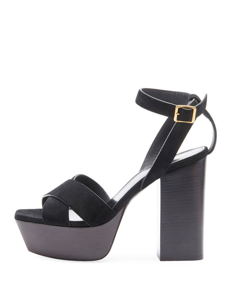 e2ef0769382 Saint Laurent Farrah Suede Platform Sandals