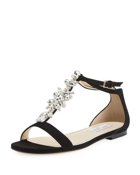 Jimmy Choo Averie Flat Embellished Suede T-Strap Sandals
