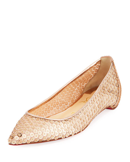 e26d3783ff Christian Louboutin Lace Sequined Red Sole Ballet Flats