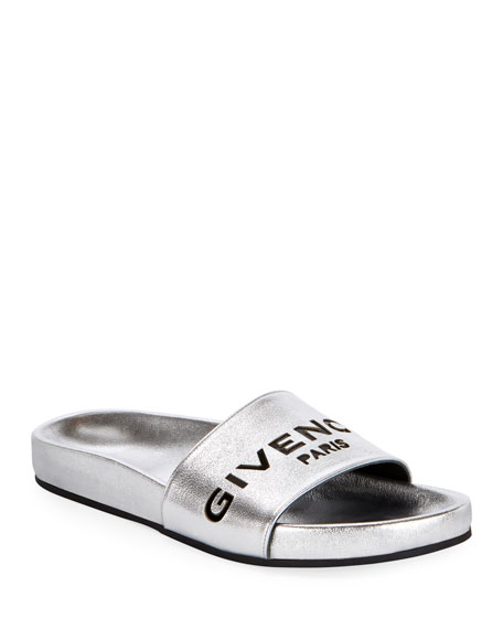 fe67fd83533 Givenchy Cruise Flat Metallic Pool Slide Sandals