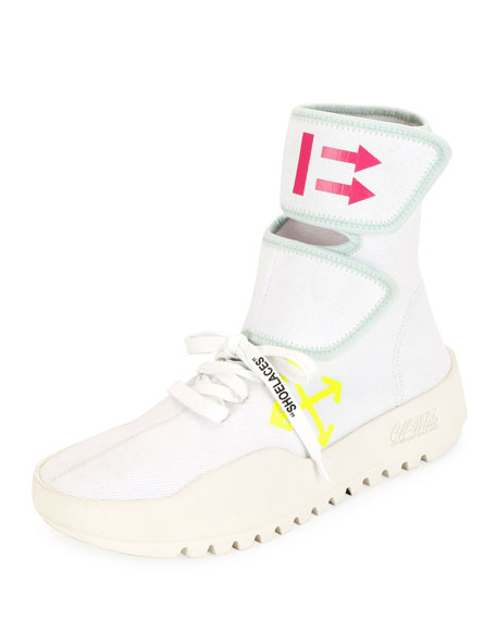 Off-White Moto Wrap High-Top Knit Sneakers