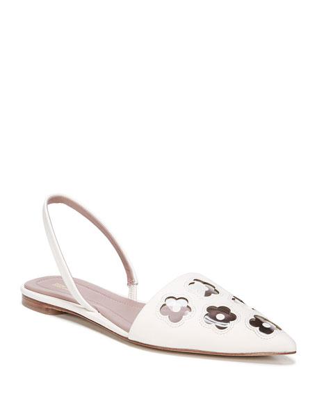 54d767baf0ed6 Diane von Furstenberg Koko Leather Flower Flats
