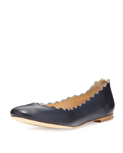 Scalloped Leather Ballet Flats  Navy