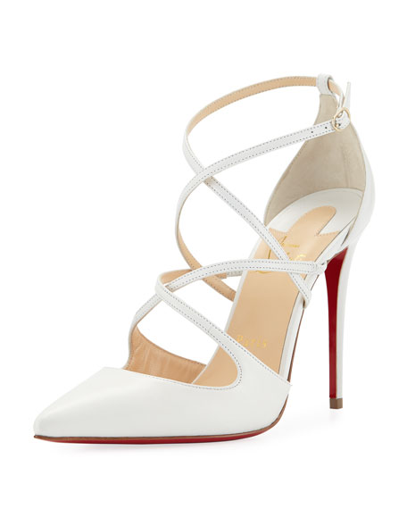4201d3e30a88 Christian Louboutin Cross Fliketa Strappy Red Sole Pump