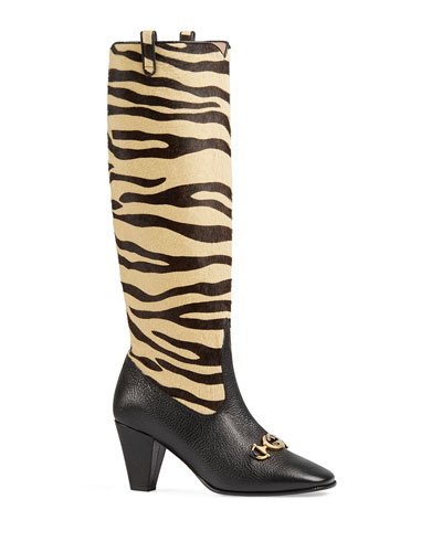 7d4f62c5364b Zumi Tiger-Print Knee Boots Quick Look. Gucci
