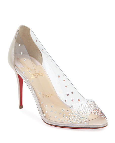 Christian Louboutin Sucre Glace Red Sole Clear Pumps