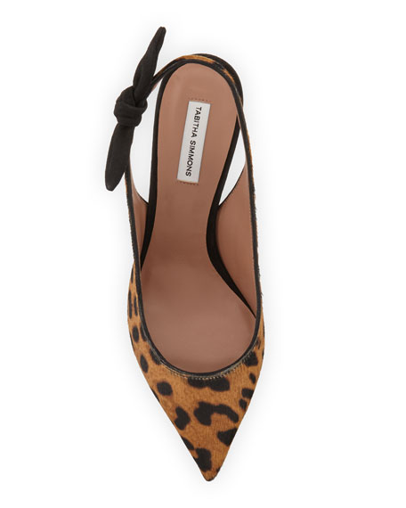 Millie Leopard Calf Hair Slingback Pumps