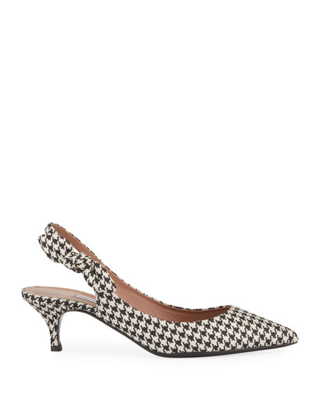 Houndstooth Kitten-Heel Slingback Pumps