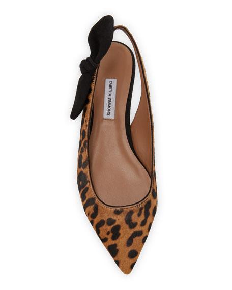 Leopard-Print Calf Hair Slingback Flats