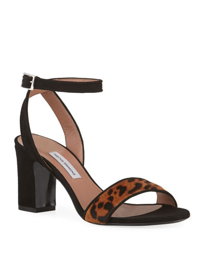 Leticia Leopard-Print Hair Sandals