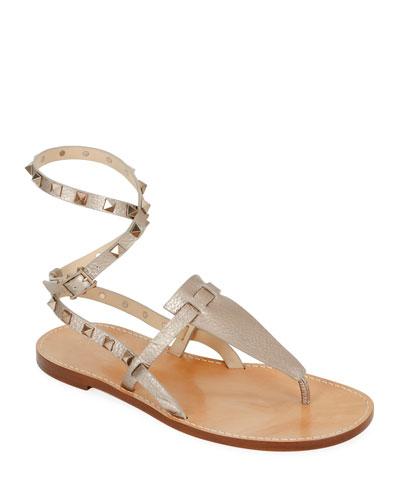 bd4fcc9e36 Rockstud Alce Metallic Ankle-Wrap Thong Flat Sandals Quick Look. Valentino  Garavani