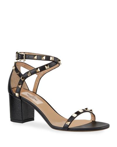 60 mm Rockstud Leather Sandals