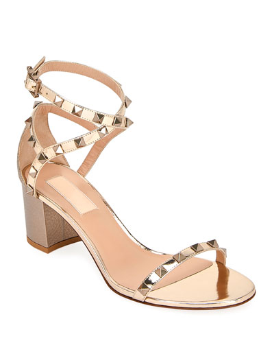 5dc9ab487d80 Rockstud Metallic Ankle-Wrap Sandals