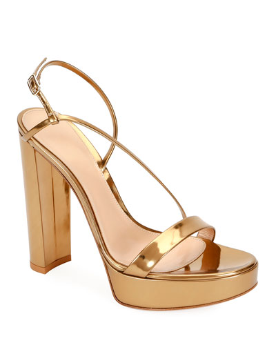 Strappy Metallic Leather Platform Sandals