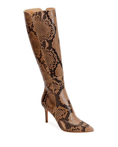 Gianvito Rossi Python Pointed-Toe Tall Boots