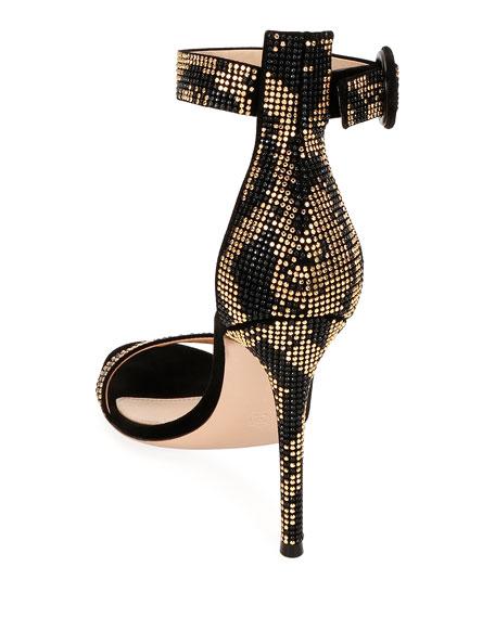 Embellished Suede Ankle-Strap Sandals