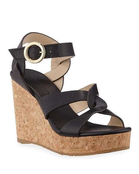 eb4965a544d9 Jimmy Choo Aleili Leather Cork Wedge Sandals