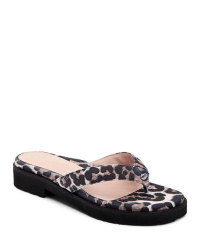 Taziana Leopard-Print Thong Sandals