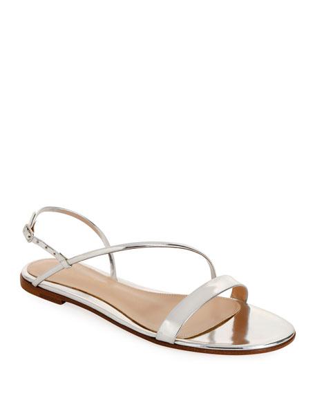 Metallic Flat Asymmetric Sandals