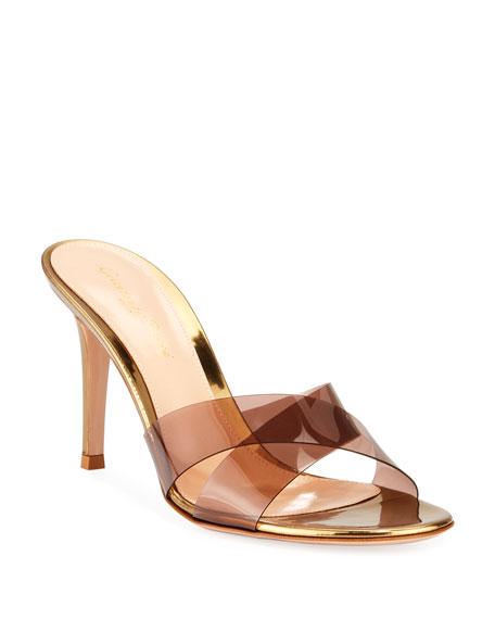 Metallic Plexi Crisscross Mule Sandals