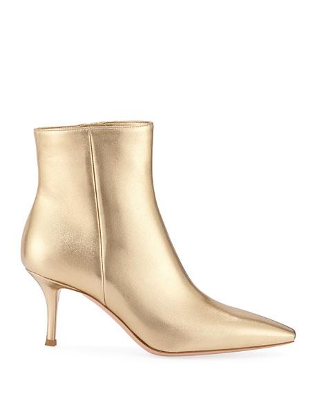 Metallic Leather Mid-Heel Booties