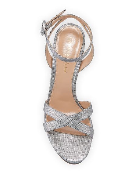 Metallic Block-Heel Platform Sandals