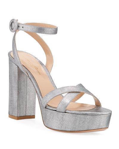 31cefa65262 Metallic Block-Heel Platform Sandals
