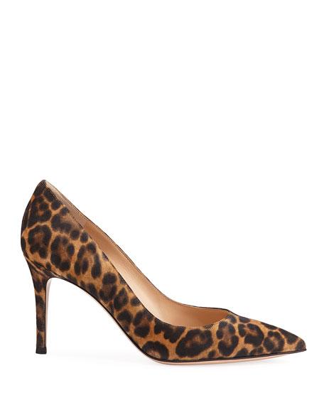 Gianvito 85 Leopard Suede Point-Toe Pumps