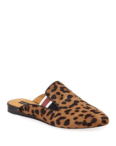 Greyson Leopard-Print Calf Hair Mules