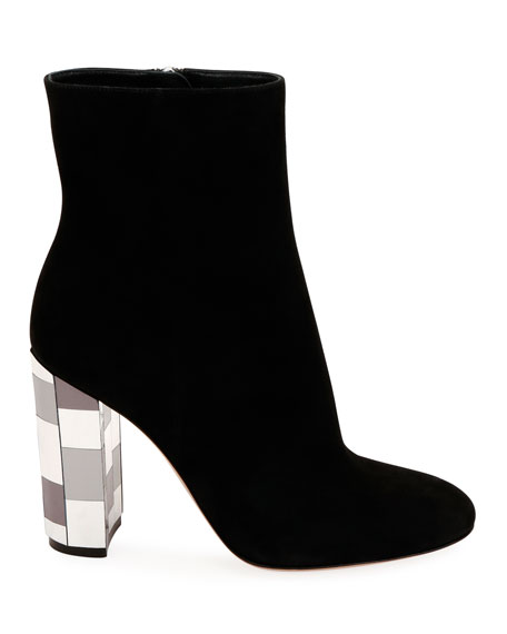 Suede Mirrored-Heel Booties